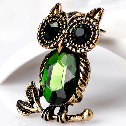 Shop Owl Shape Retro Faux Crystal Inlaid Brooch - GREEN  Mobile