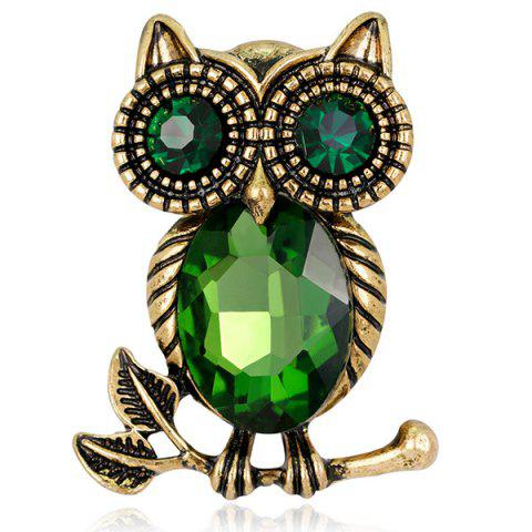 Store Owl Shape Retro Faux Crystal Inlaid Brooch - GREEN  Mobile