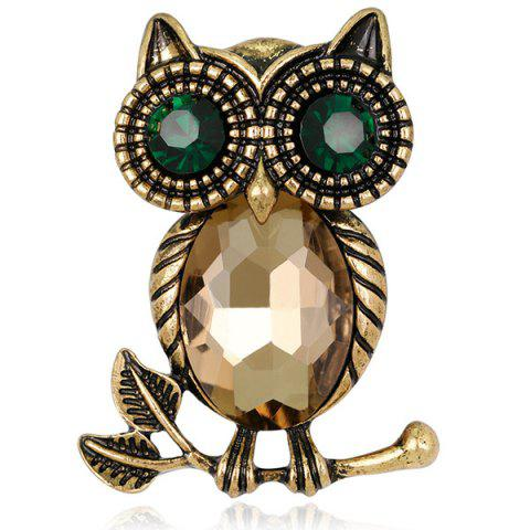 Shop Owl Shape Retro Faux Crystal Inlaid Brooch - GOLDEN  Mobile