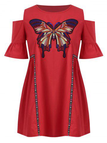 Plus Size Cold Shoulder Butterfly Embroidered  Tunic Top - Red - 4xl