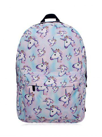 Discount Unicorn Printed Backpack PINKISH BLUE