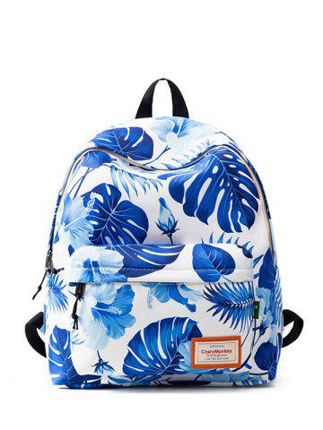 Trendy Casual Nylon Printed Backpack BLUE AND WHITE
