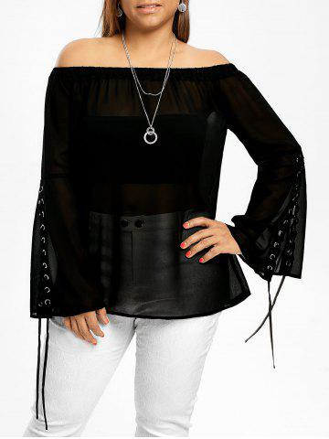 Plus Size Lace Up Off The Shoulder Top - Black - 5xl