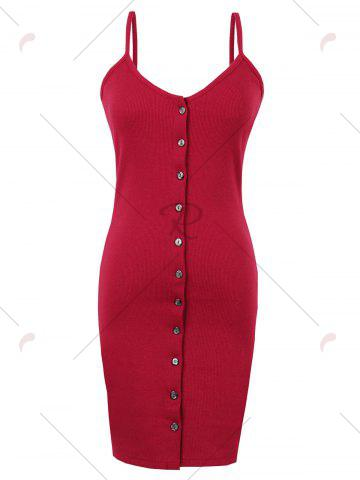 Buy Button Up Backless Ribbed Slip Bodycon Dress - ONE SIZE RED Mobile