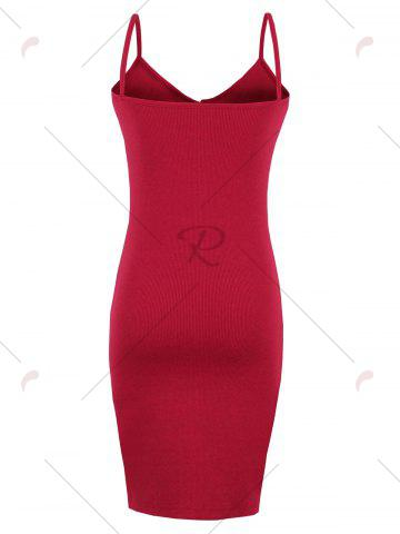 Unique Button Up Backless Ribbed Slip Bodycon Dress - ONE SIZE RED Mobile