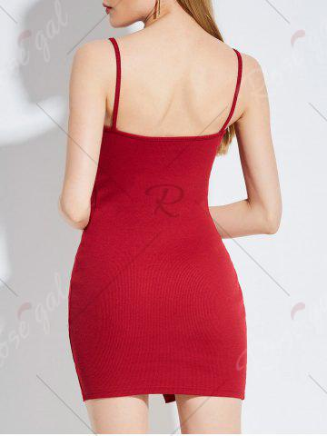 Store Button Up Backless Ribbed Slip Bodycon Dress - ONE SIZE RED Mobile