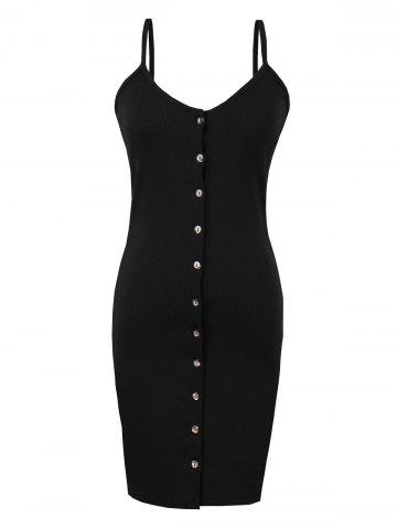 Button Up Backless Ribbed Slip Bodycon Dress - Black - One Size