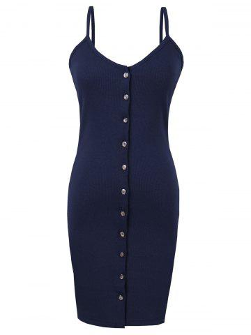 Unique Button Up Backless Ribbed Slip Bodycon Dress - ONE SIZE PURPLISH BLUE Mobile