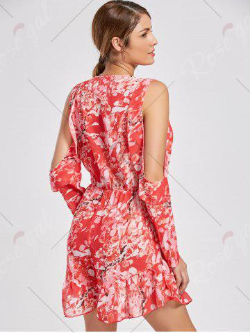 Shops Floral Low Cut Slit Sleeve Ruffle Romper - M RED Mobile
