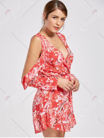 Best Floral Low Cut Slit Sleeve Ruffle Romper - M RED Mobile