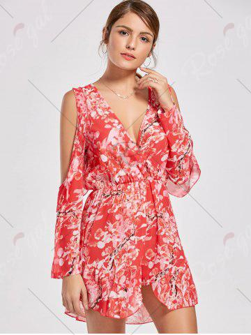 Online Floral Low Cut Slit Sleeve Ruffle Romper - XL RED Mobile