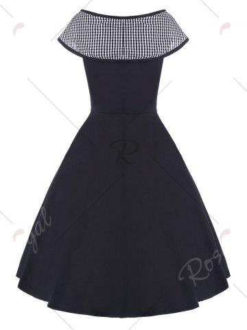 Latest Boat Neck Vintage Dress - S BLACK Mobile