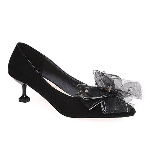 Trendy Rhinestone Mesh Bow Embellished Pumps BLACK 37