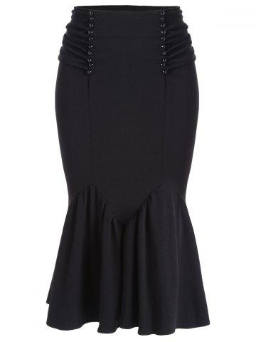 Fitted Belted Midi Mermaid Skirt - Black - 2xl