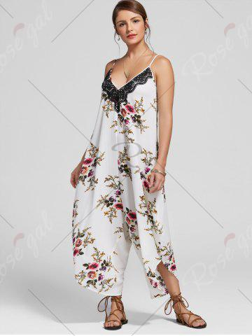 Fancy Floral Print Ninth Cami Wide Leg Jumpsuit - XL FLORAL Mobile