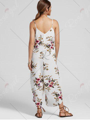 Shop Floral Print Ninth Cami Wide Leg Jumpsuit - XL FLORAL Mobile