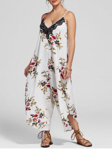 Latest Floral Print Ninth Cami Wide Leg Jumpsuit - XL FLORAL Mobile