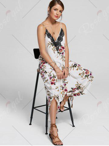 Trendy Floral Print Ninth Cami Wide Leg Jumpsuit - XL FLORAL Mobile