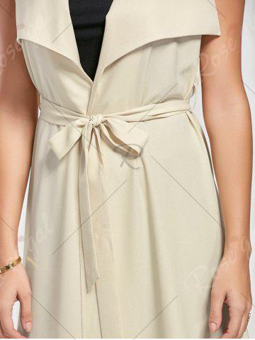 Affordable Maxi Sleeveless Waterfall Trench Coat - M LIGHT BEIGE Mobile