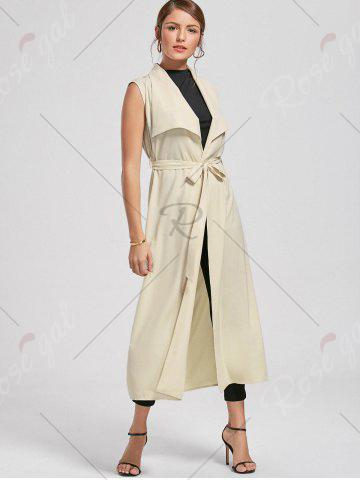 Sale Maxi Sleeveless Waterfall Trench Coat - L LIGHT BEIGE Mobile