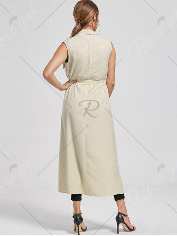 Affordable Maxi Sleeveless Waterfall Trench Coat - L LIGHT BEIGE Mobile