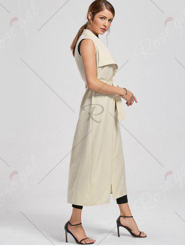 Hot Maxi Sleeveless Waterfall Trench Coat - 2XL LIGHT BEIGE Mobile