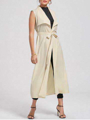 Maxi Sleeveless Waterfall Trench Coat - Light Beige - 2xl