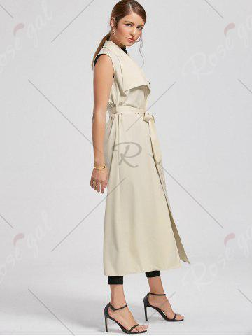 Affordable Maxi Sleeveless Waterfall Trench Coat - 2XL LIGHT BEIGE Mobile