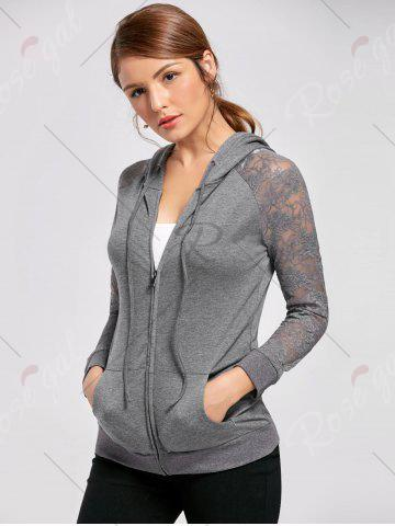 Cheap Lace Trim Drawstring Neck Hoodie - M FROST Mobile