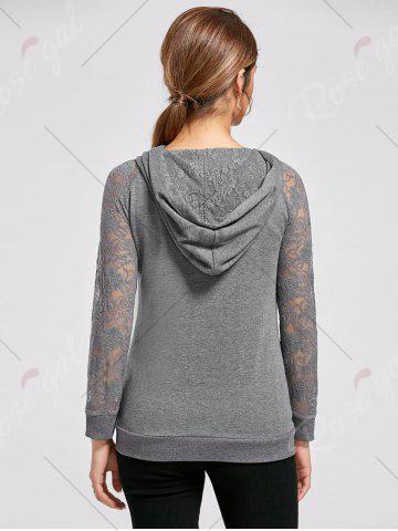 Latest Lace Trim Drawstring Neck Hoodie - M FROST Mobile