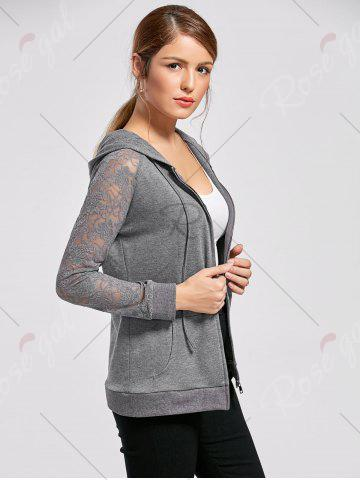 Sale Lace Trim Drawstring Neck Hoodie - M FROST Mobile