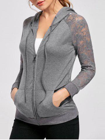 Trendy Lace Trim Drawstring Neck Hoodie - M FROST Mobile