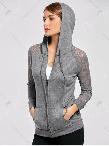 Online Lace Trim Drawstring Neck Hoodie - M FROST Mobile