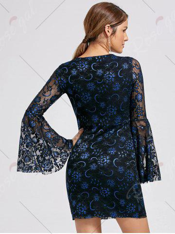 Affordable Bell Sleeve Lace Up Lace Dress - L BLACK Mobile