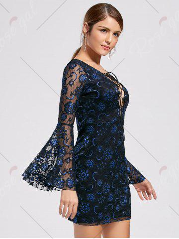 Fashion Bell Sleeve Lace Up Lace Dress - L BLACK Mobile