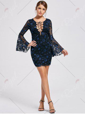 Affordable Bell Sleeve Lace Up Lace Dress - 2XL BLACK Mobile