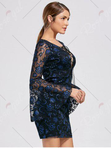 Online Bell Sleeve Lace Up Lace Dress - 2XL BLACK Mobile