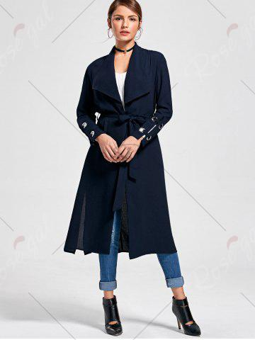 Affordable Belted Waterfall Midi Trench Coat - M PURPLISH BLUE Mobile