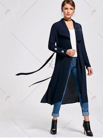 Store Belted Waterfall Midi Trench Coat - L PURPLISH BLUE Mobile