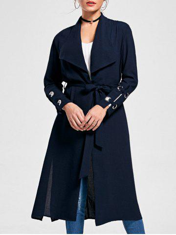 Fancy Belted Waterfall Midi Trench Coat - XL PURPLISH BLUE Mobile