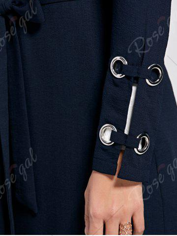 Affordable Belted Waterfall Midi Trench Coat - 2XL PURPLISH BLUE Mobile