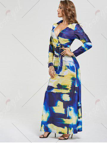 Outfit Printed Long Sleeve Floor Length Dress - S COLORMIX Mobile