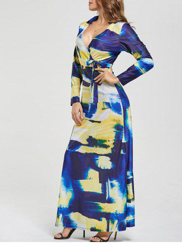 New Printed Long Sleeve Floor Length Dress COLORMIX S