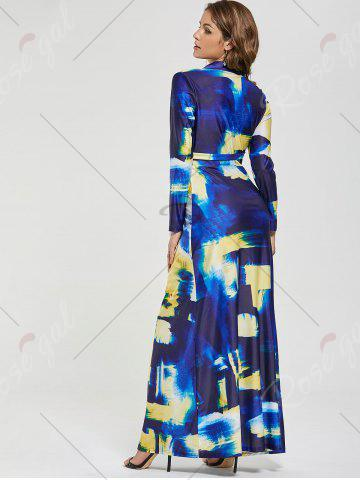 Discount Printed Long Sleeve Floor Length Dress - S COLORMIX Mobile
