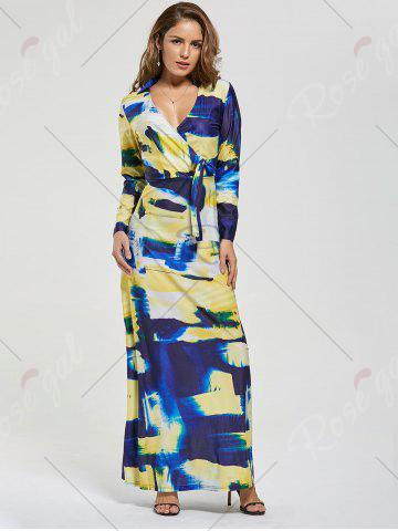 Store Printed Long Sleeve Floor Length Dress - S COLORMIX Mobile