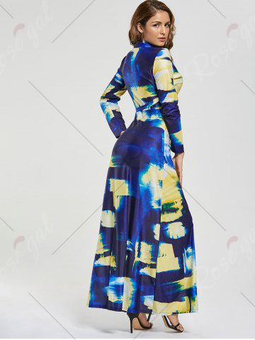Chic Printed Long Sleeve Floor Length Dress - S COLORMIX Mobile