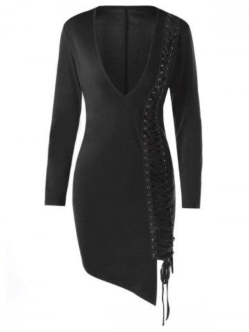 Affordable Lace Up Plunge Long Sleeve Skin Tight Dress - M BLACK Mobile