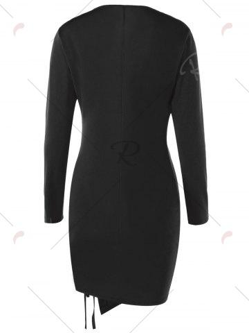 Store Lace Up Plunge Long Sleeve Skin Tight Dress - M BLACK Mobile