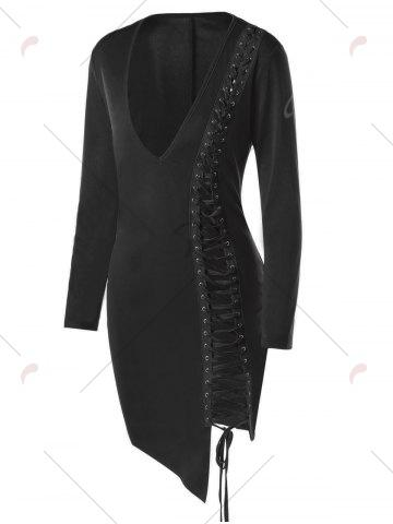 New Lace Up Plunge Long Sleeve Skin Tight Dress - M BLACK Mobile