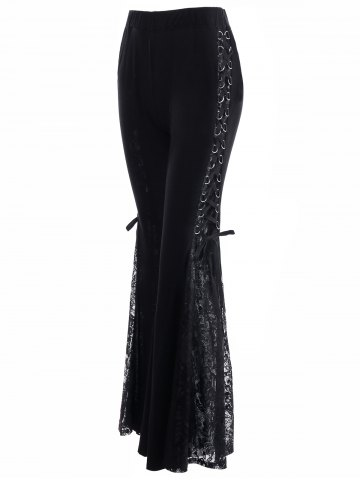 Sale Lace Up High Waisted Flare Pants BLACK M